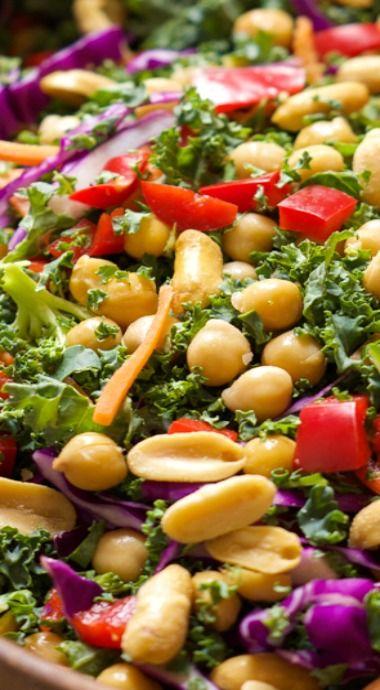 Rainbow Power Kale Salad with Peanut Dijon Dressing
